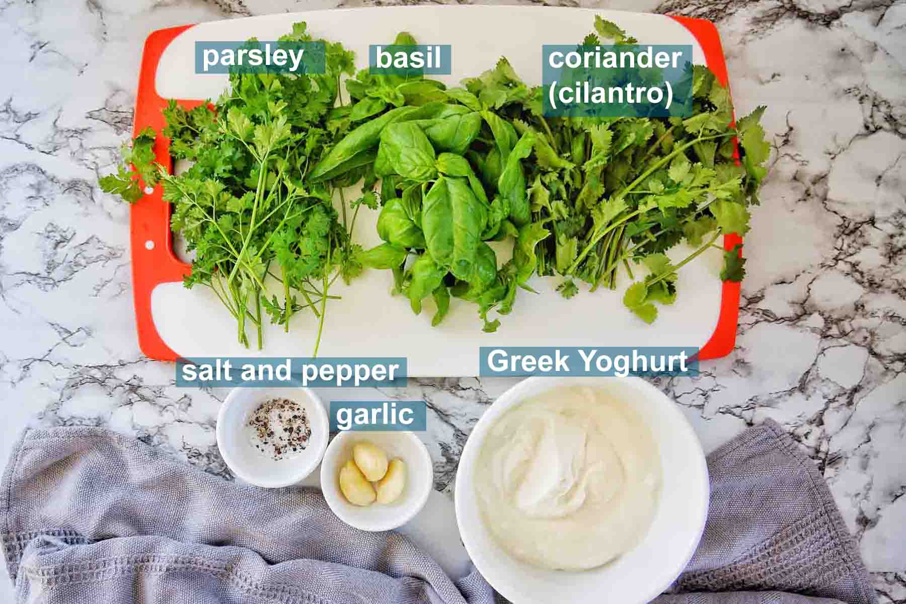 Herb Yoghurt Sauce ingredients with text labels