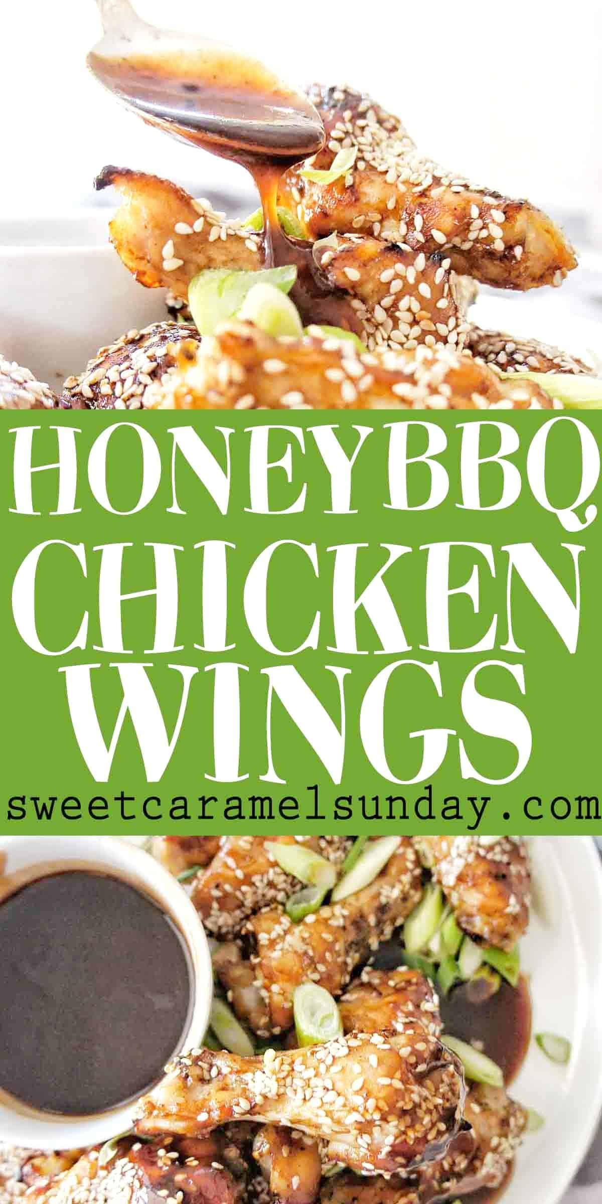 Honey BBQ Chicken Wings with text overlay