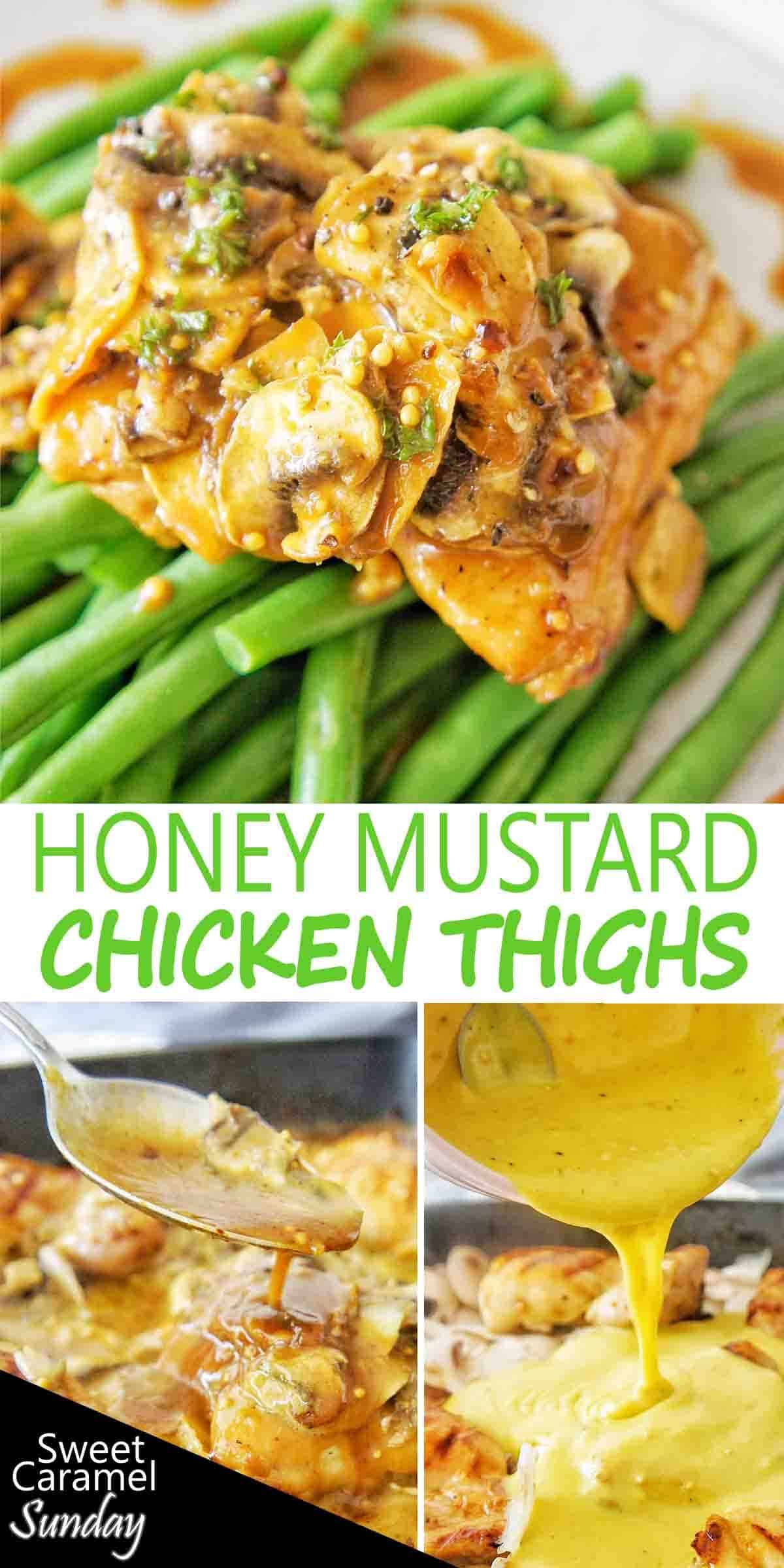 Honey Mustard Chicken Thighs with text over lay