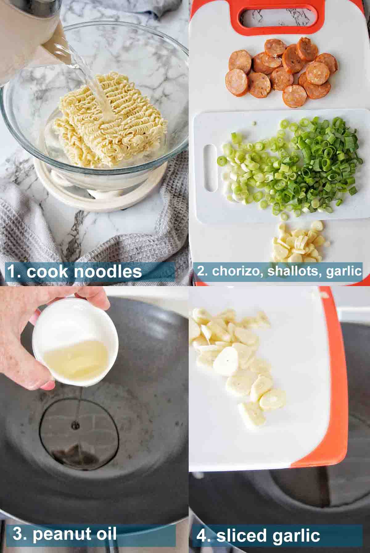 Hungover Noodles method 1 to 4 with text labels