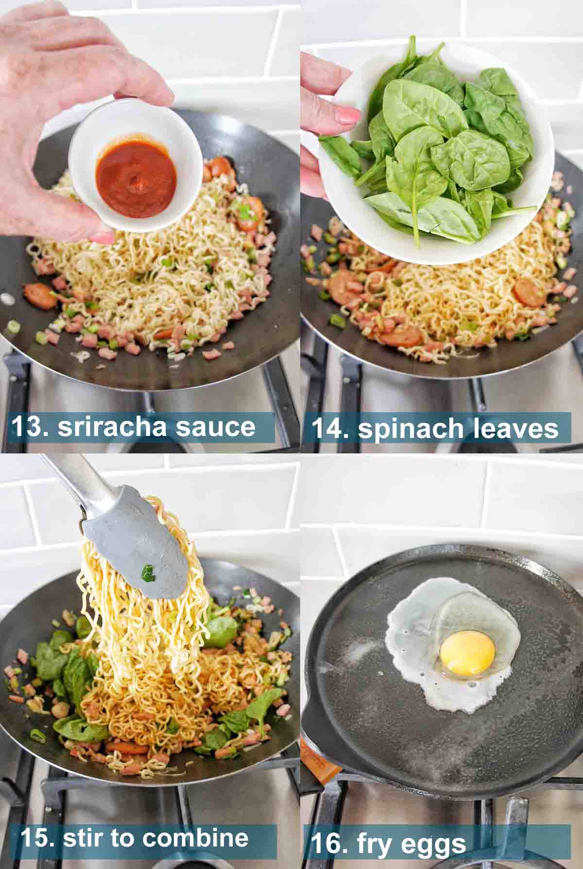 Instant Noodles method 13 to 15 with text over lay