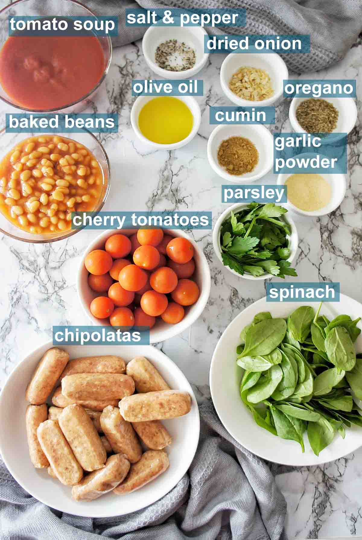 Ingredients for Chipolatas with Baked Beans