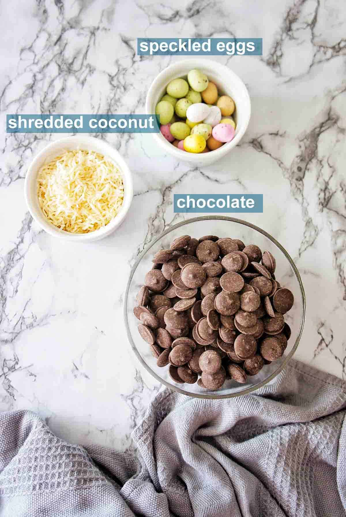 Ingredients for Easter Egg Bark with text overlay