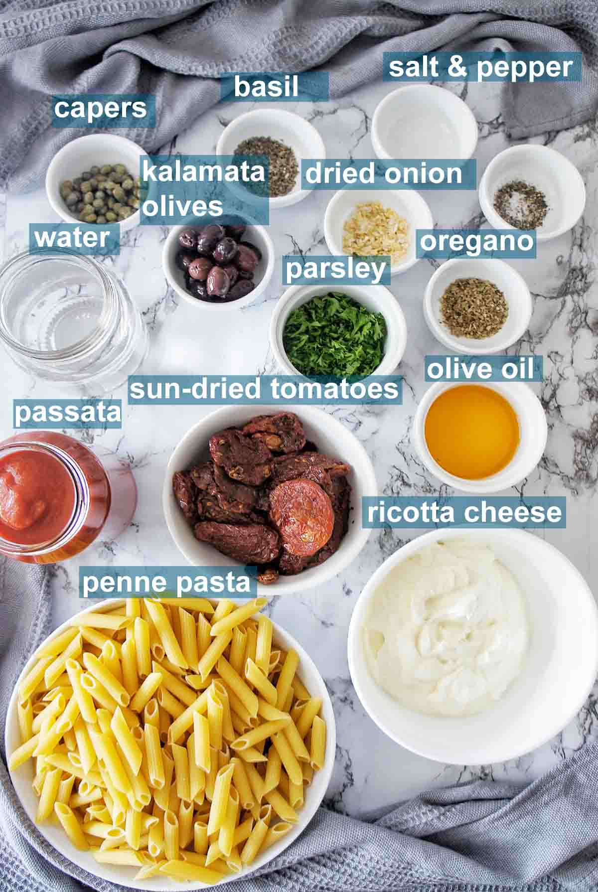 Ingredients for instant pot penne pasta with text overlay