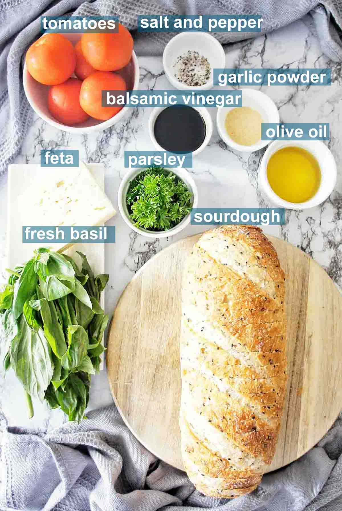 Ingredients for bruschetta with feta and text overlay
