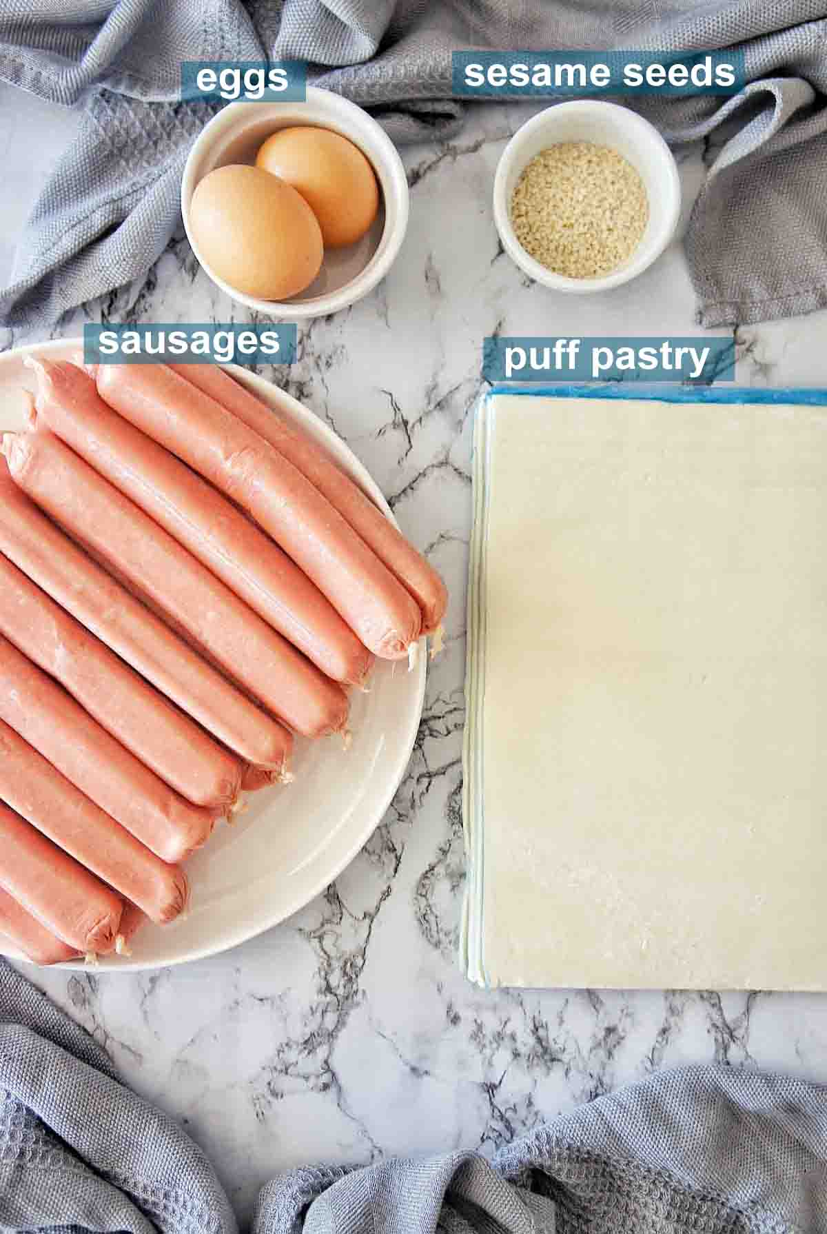 Ingredients for easy sausage rolls with text overlay