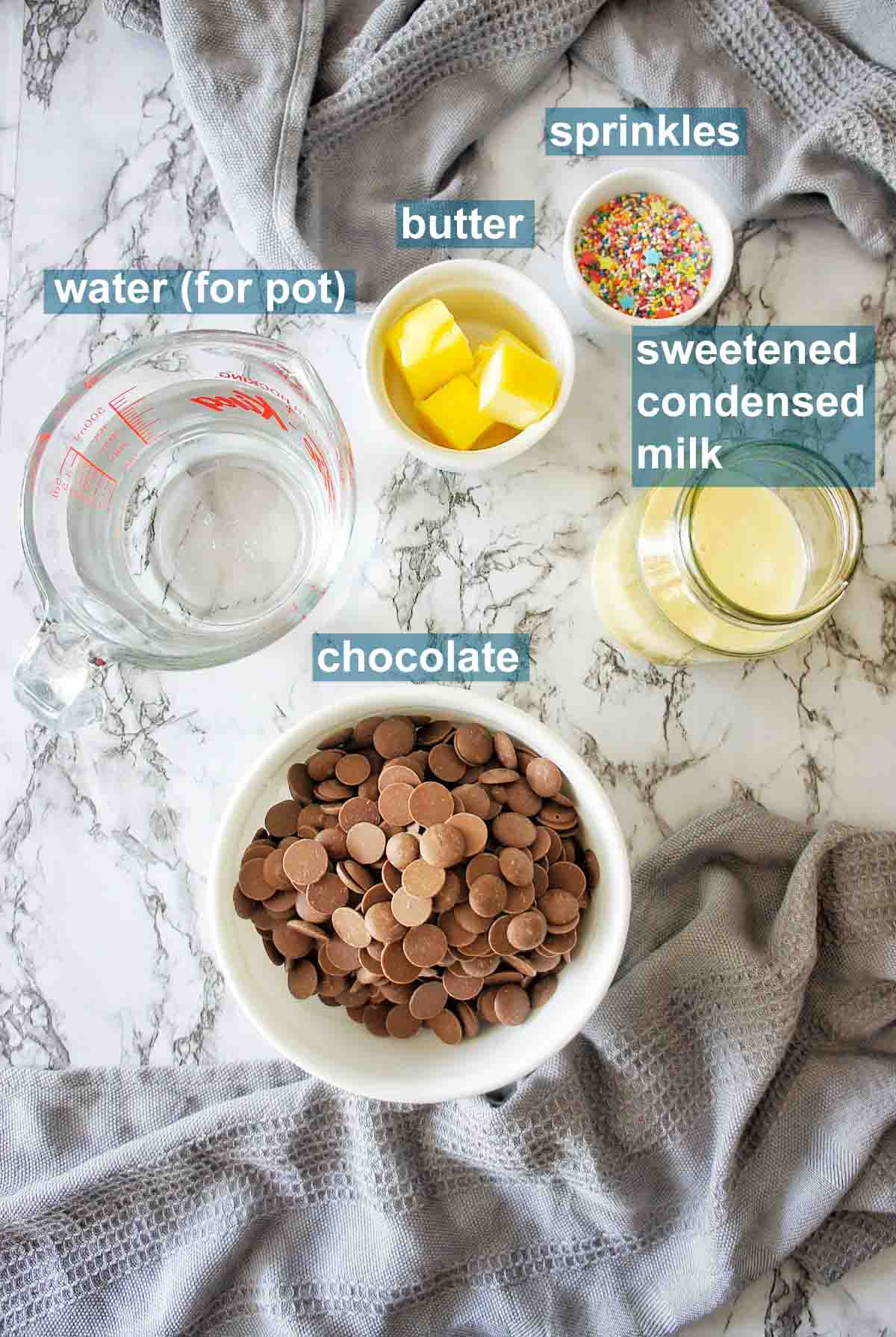Instant Pot Fudge ingredients with text overlay