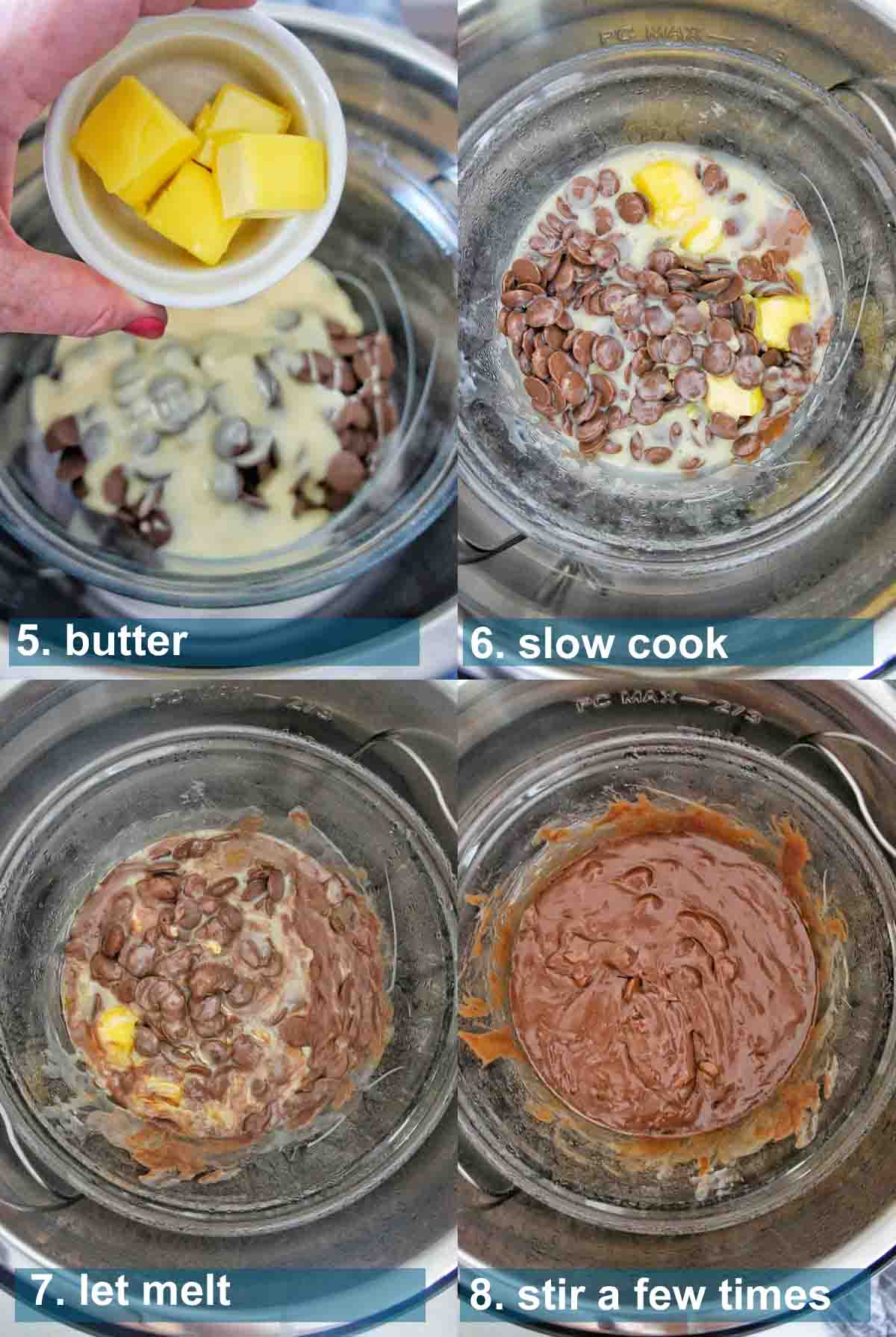 Instant Pot fudge process shots with text overlay