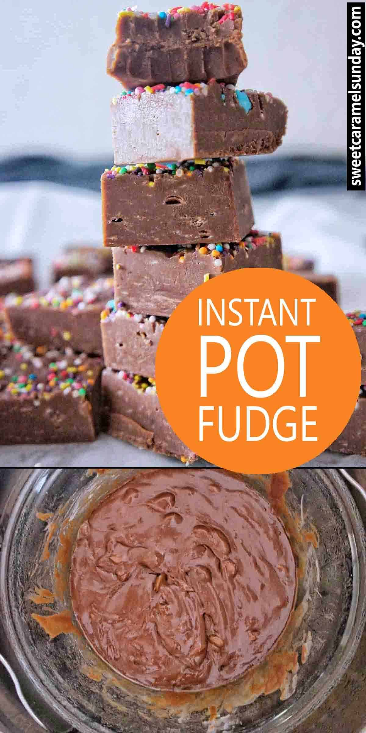 Instant Pot Fudge with text overlay