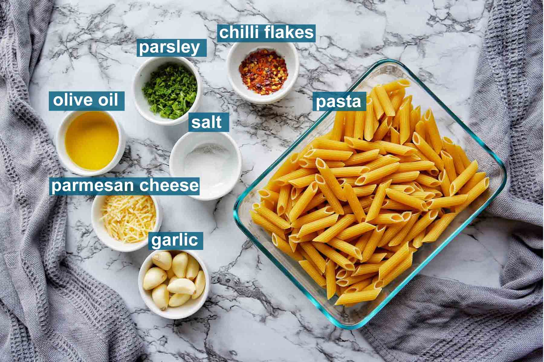 Ingredients for Instant Pot Garlic Pasta with text labels