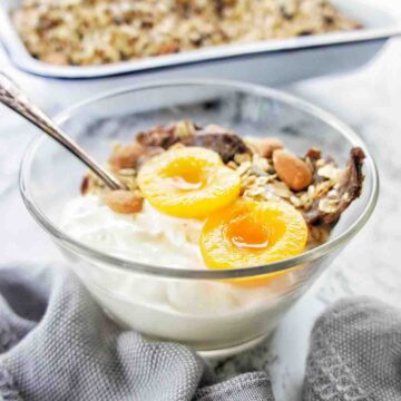 Instant Pot Granola in a bowl with yoghurt and apricots