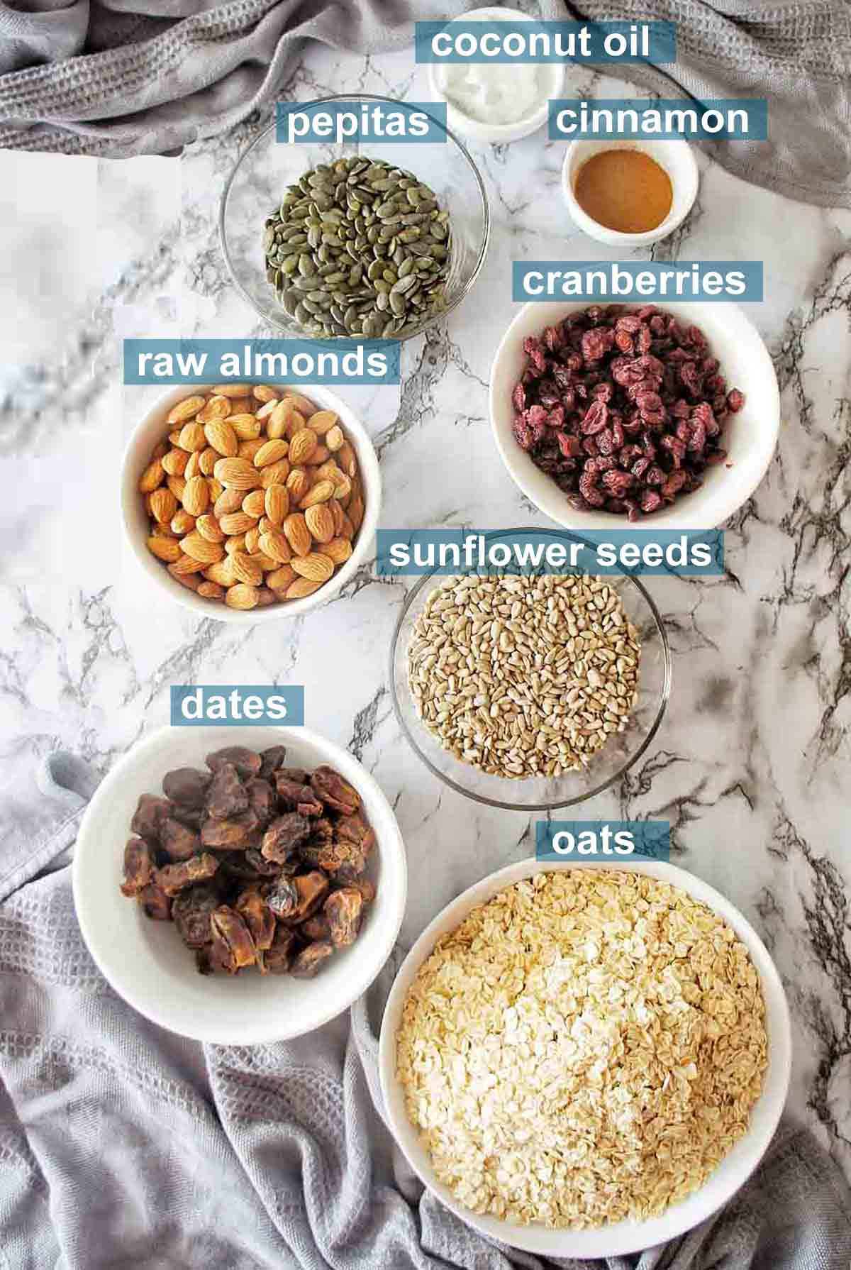 Instant Pot Granola ingredients with text over lay