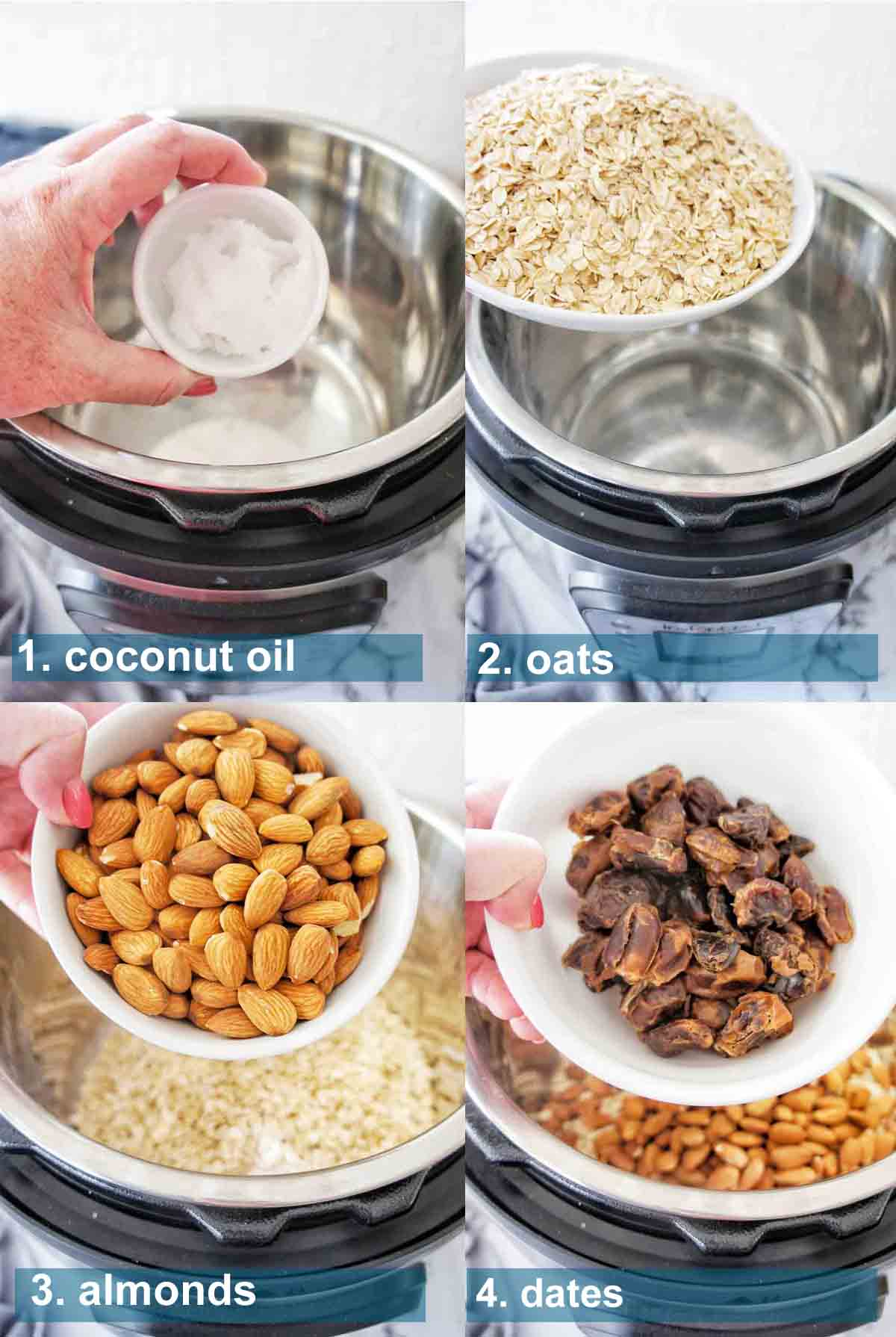 Pressure Cooker Granola method 1 to 4 with text over lay