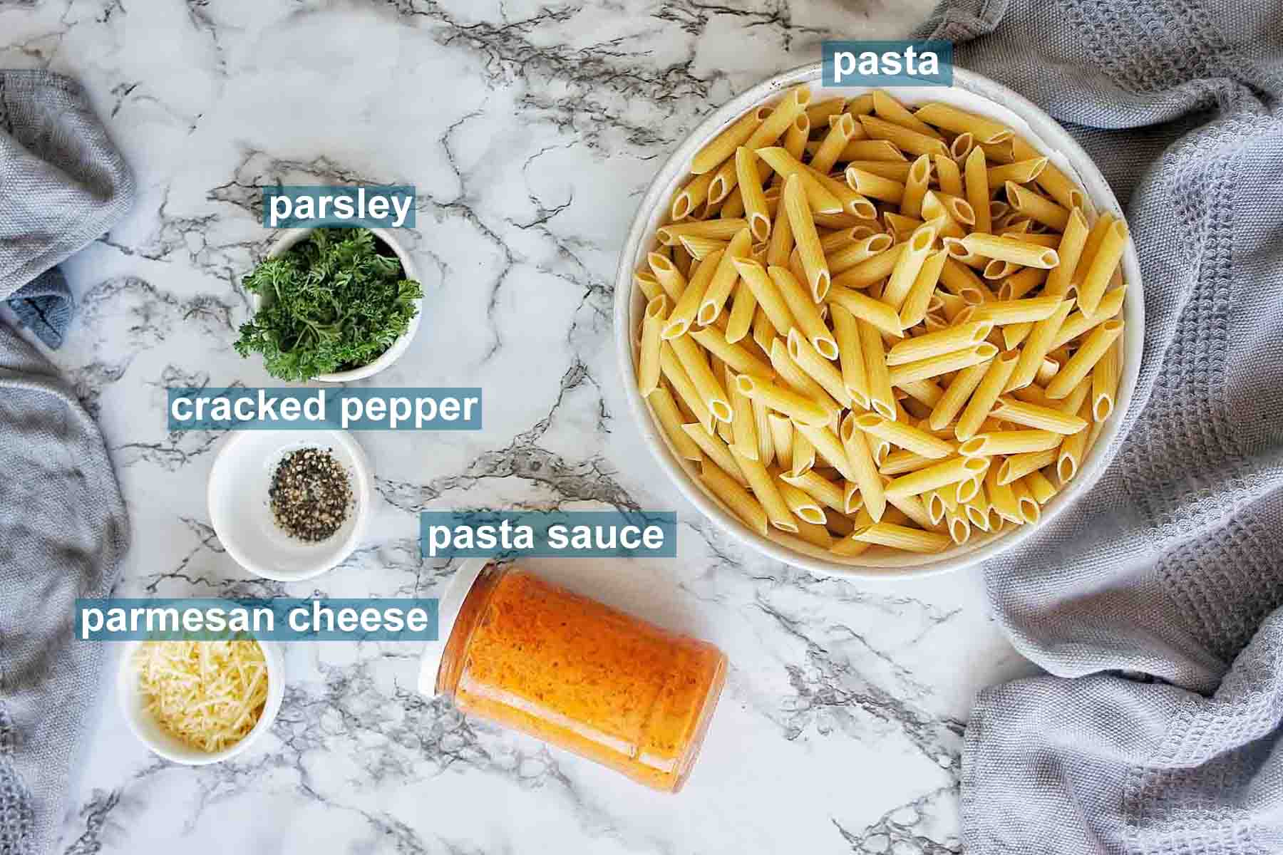 Instant Pot Pasta with jar sauce ingredients with text over lay