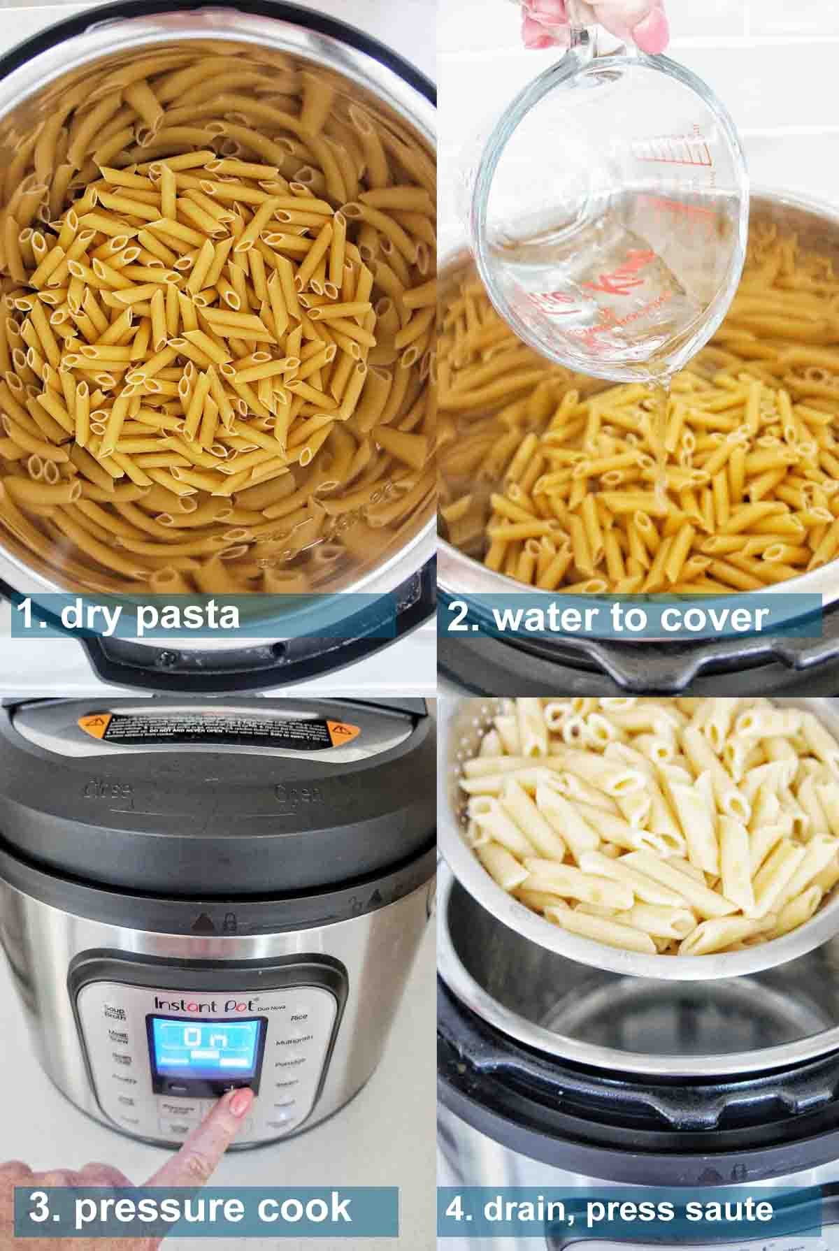 Instant Pot Pasta with jar sauce method and text over lay 1-4