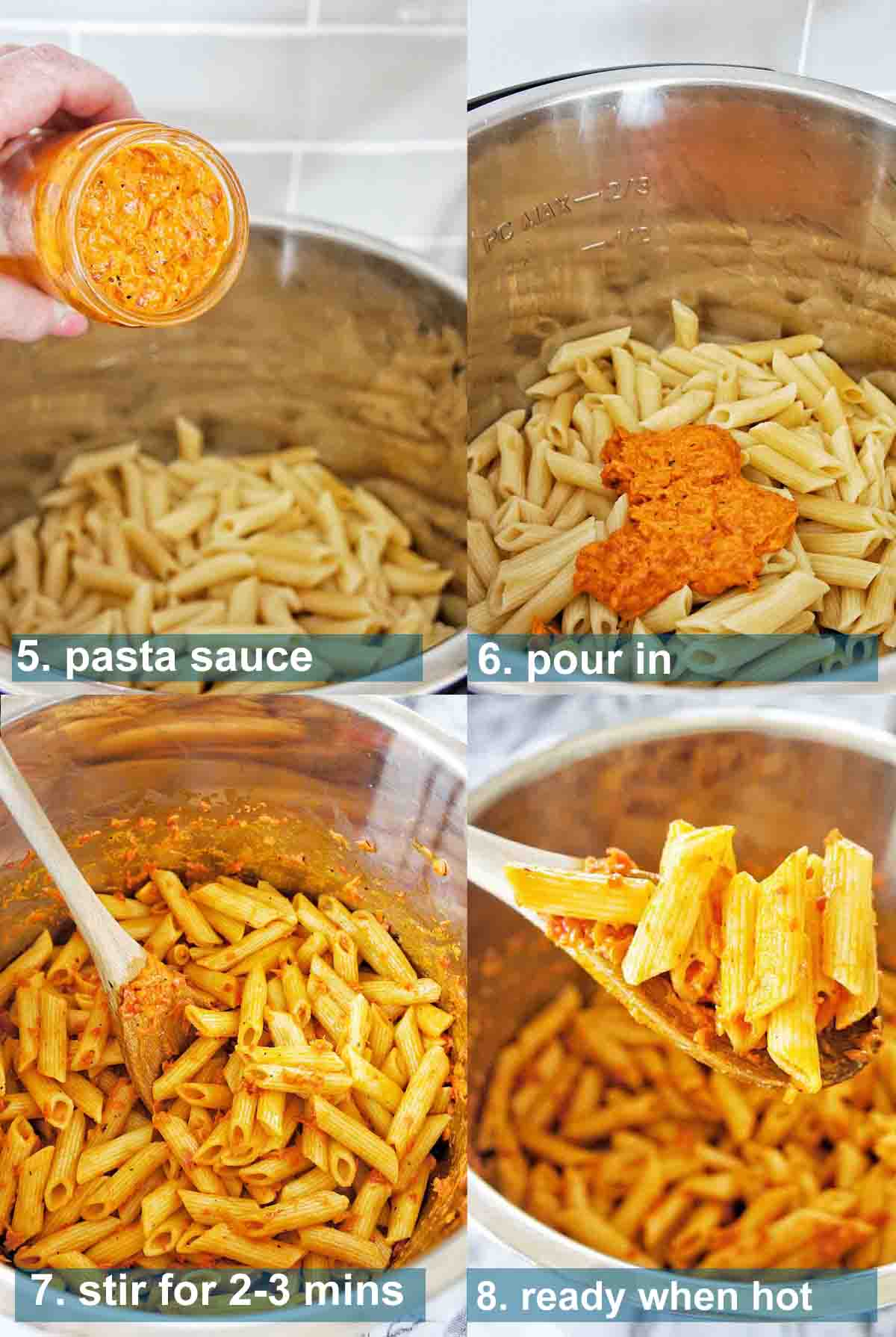 Instant Pot Pasta with jar sauce method and text over lay 5-8