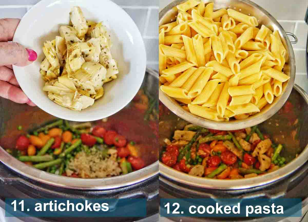 Instant Pot Pasta Primavera method 11 to 12 with text labels