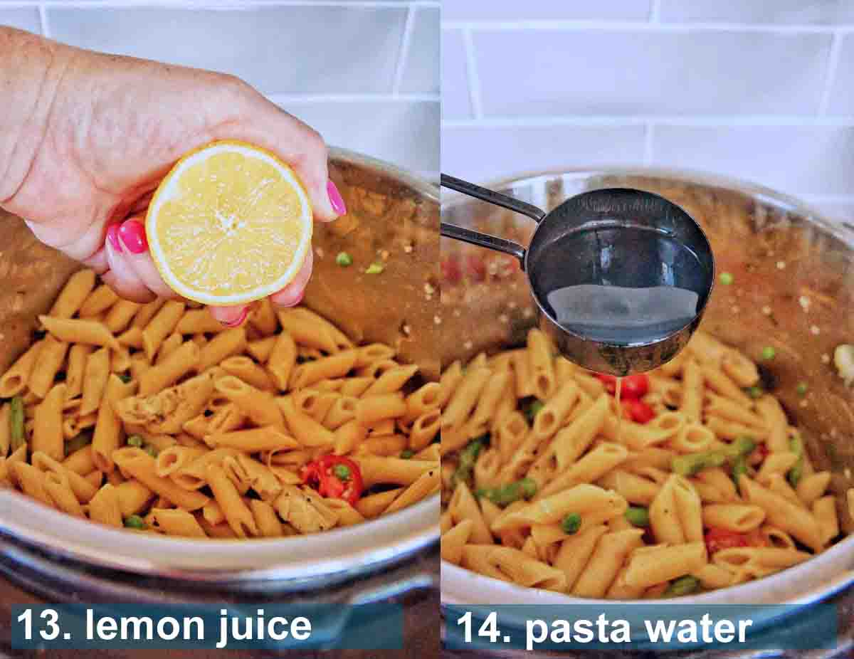 Pressure Cooker Pasta Primavera method 13 to 14 with text labels