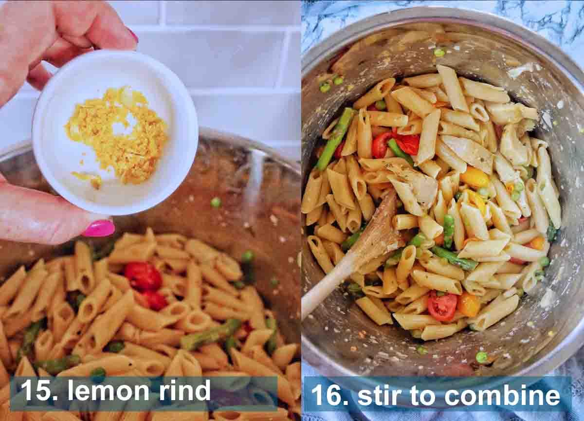 Pasta Primavera method 16 to 17 with text labels