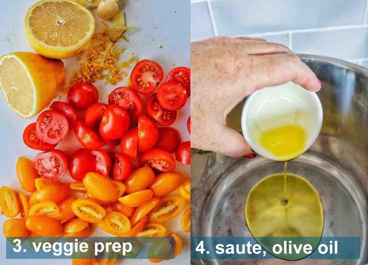 Instant Pot Pasta Primavera method 3 to 4 with text labels