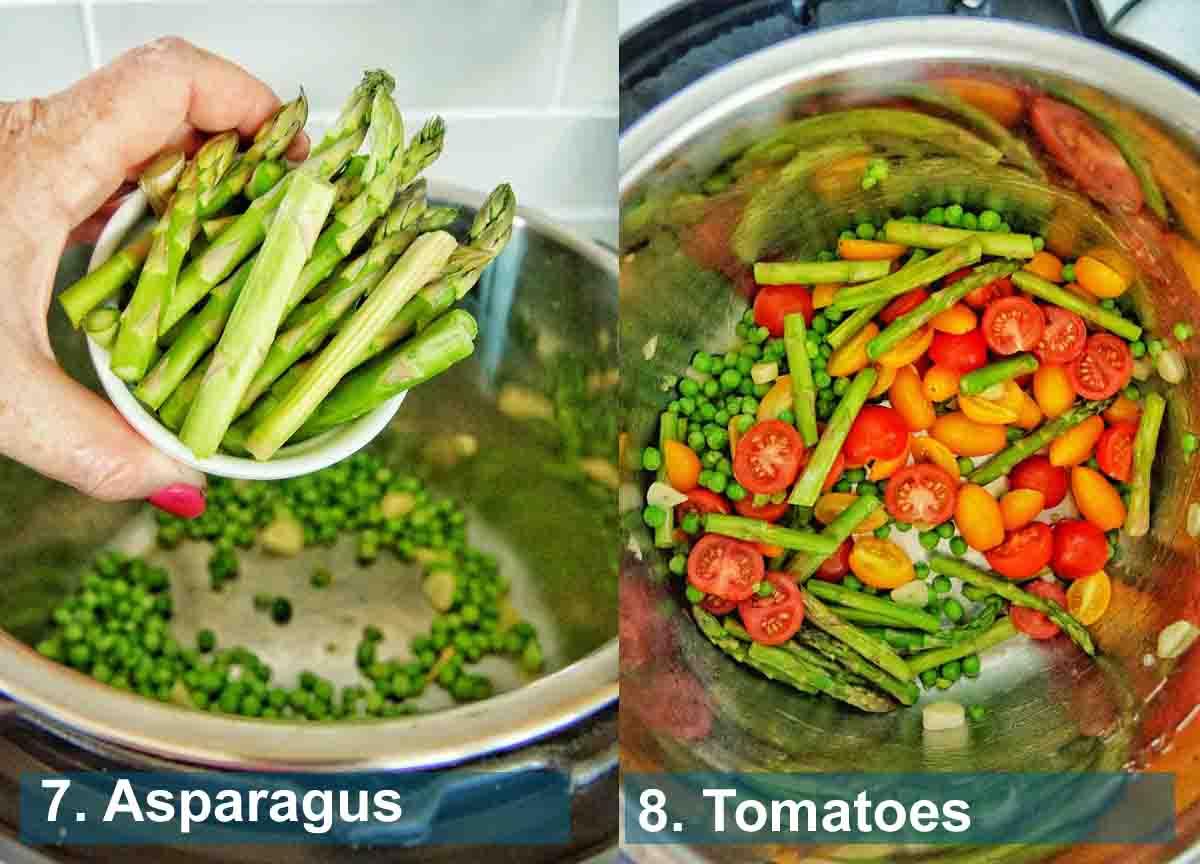 Instant Pot Primavera method 7 to 8 with text labels
