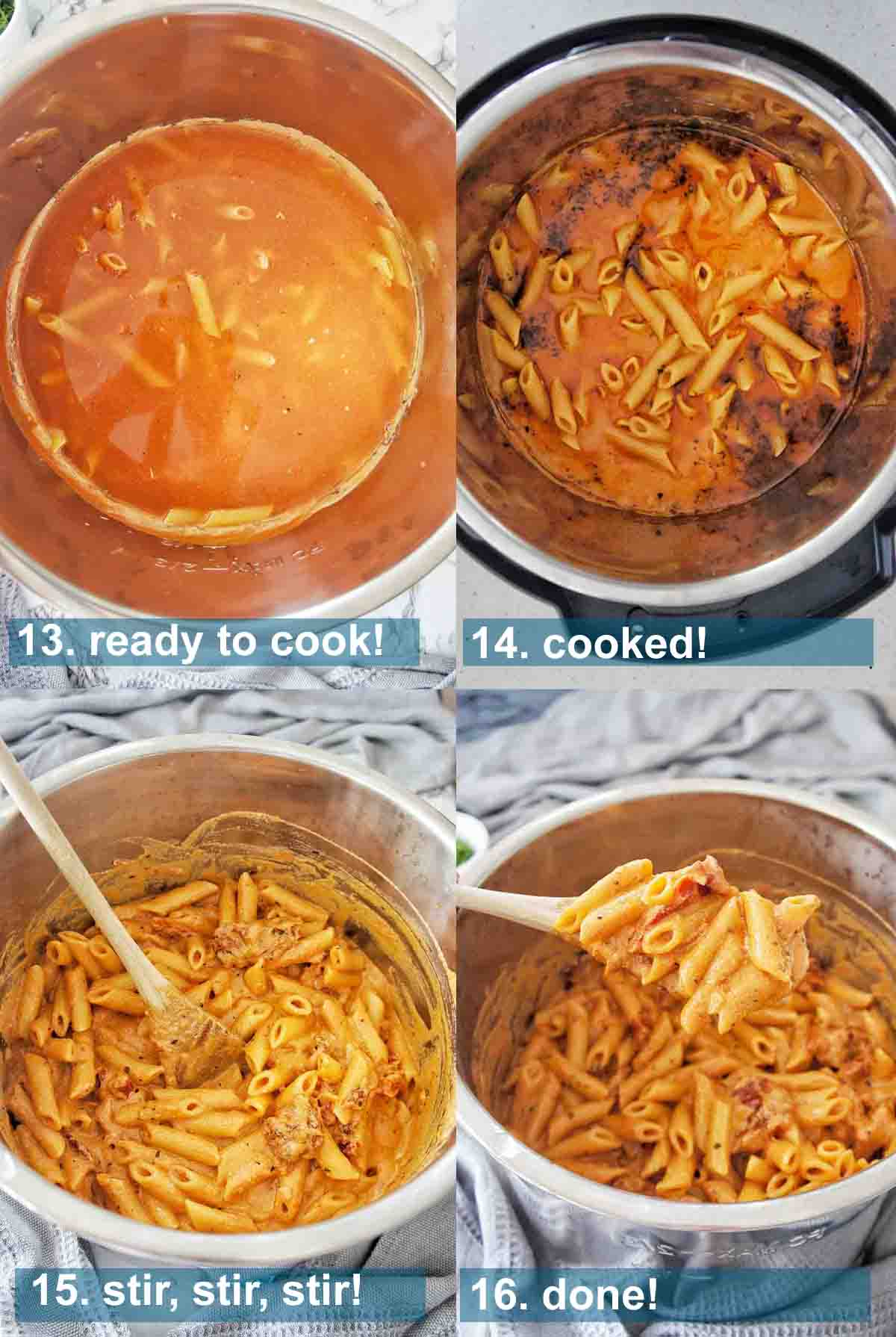 Method for instant pot penne pasta with text overlay