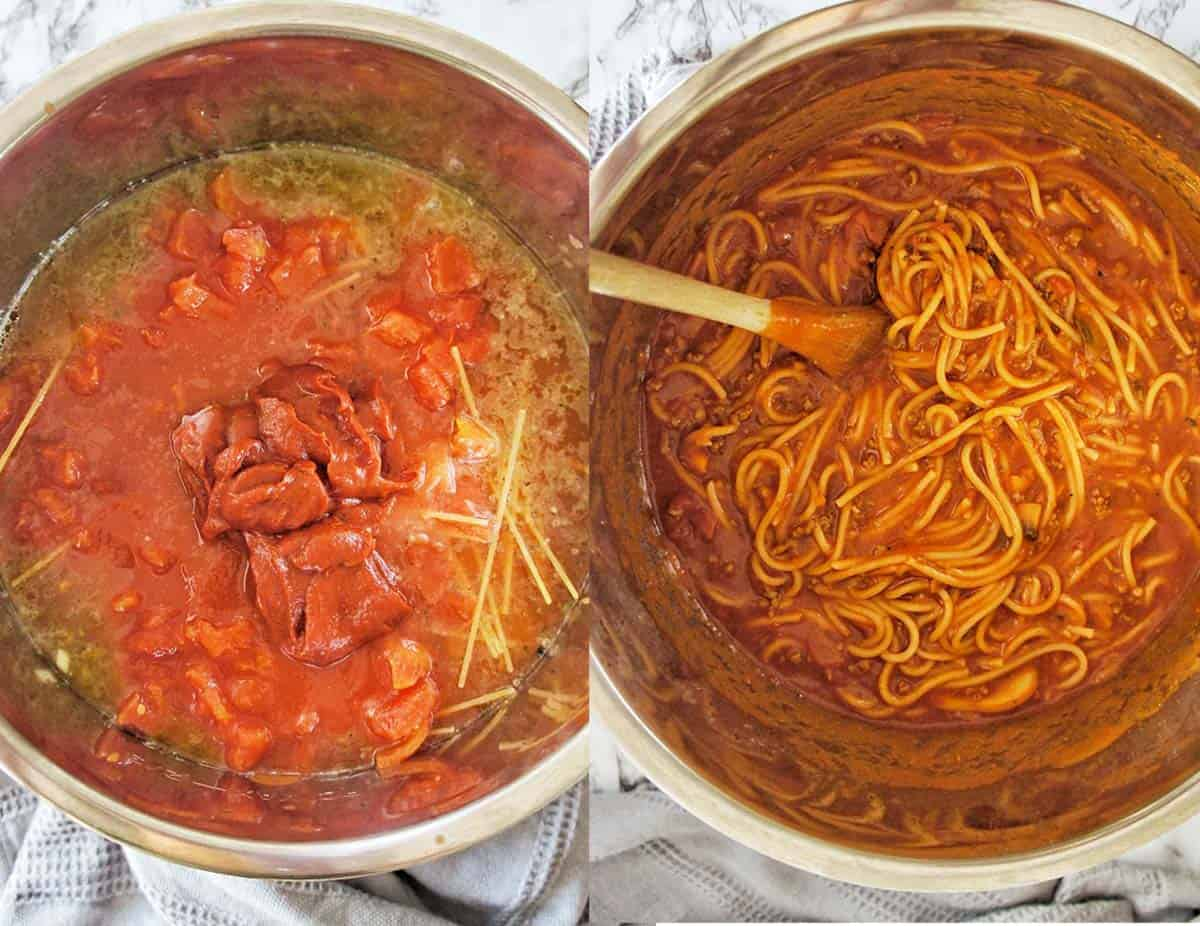 Before and after shots for cooking Spaghetti Bolognese