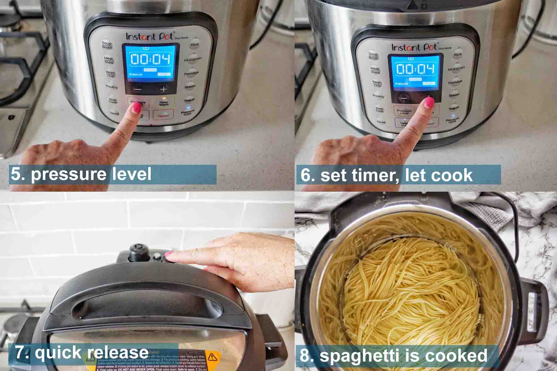 Instant Pot Spaghetti with Jar Sauce Method 5 to 8 and text labels