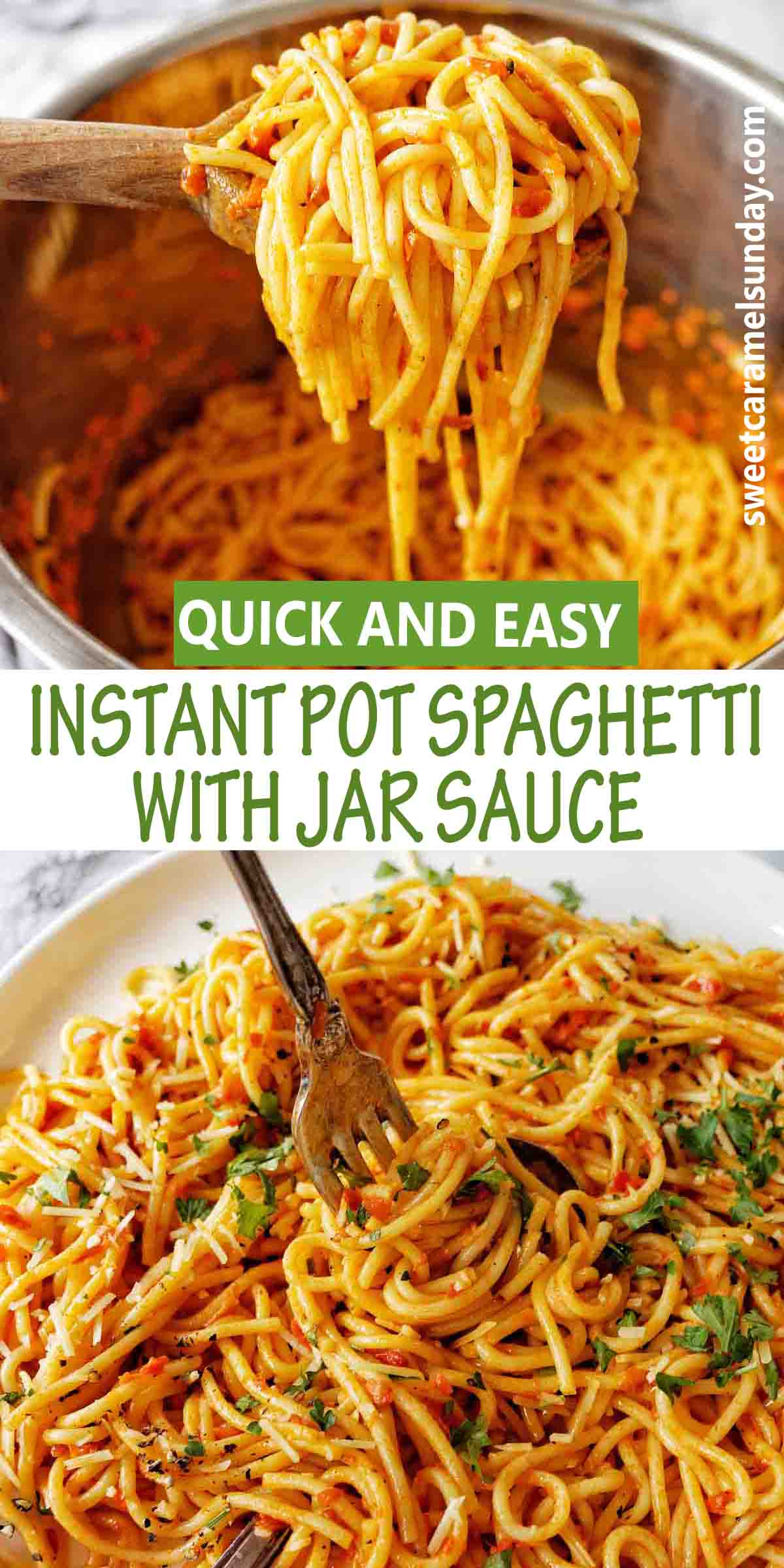 Instant Pot Spaghetti with Jar Sauce and text label