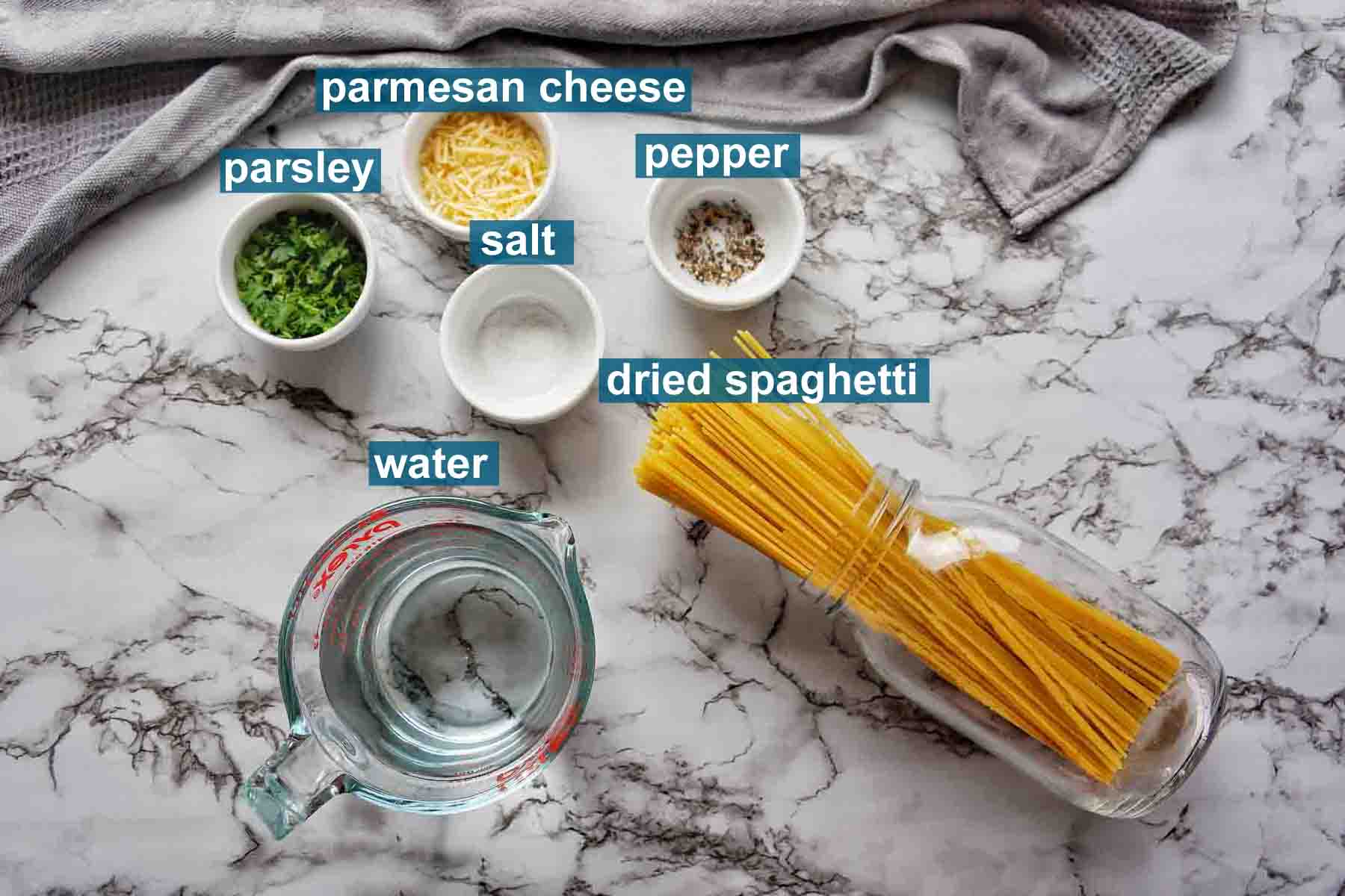 Instant Pot Spaghetti Noodles ingredients with text labels
