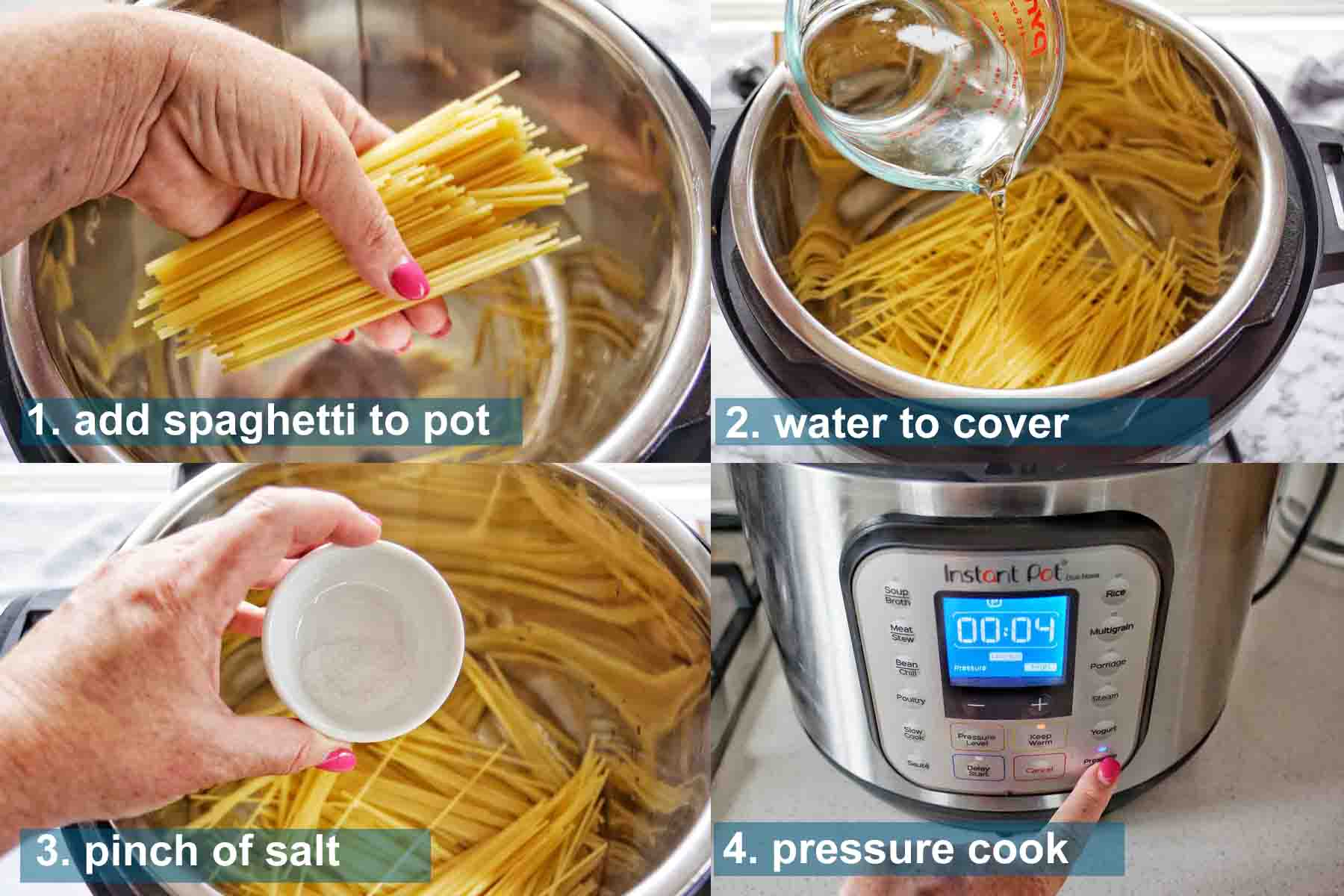 Instant Pot Spaghetti Noodles method 1 to 4 with text labels