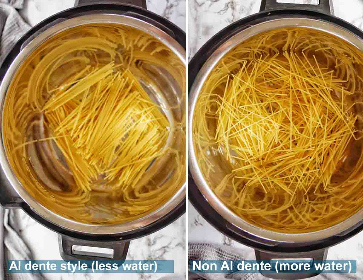 Instant Pot Spaghetti Noodles method with text over lay