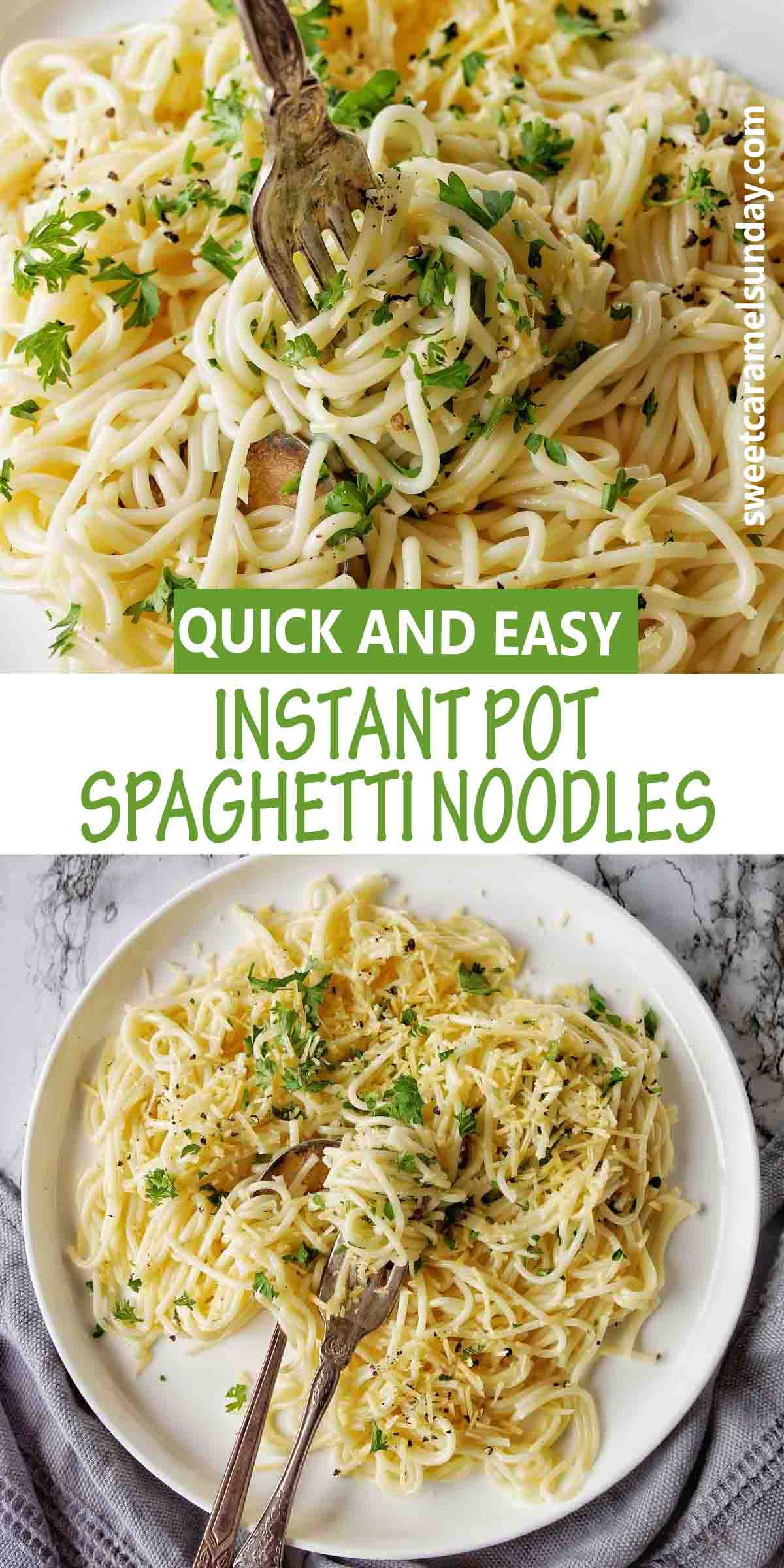 Instant Pot Spaghetti Noodles with text label