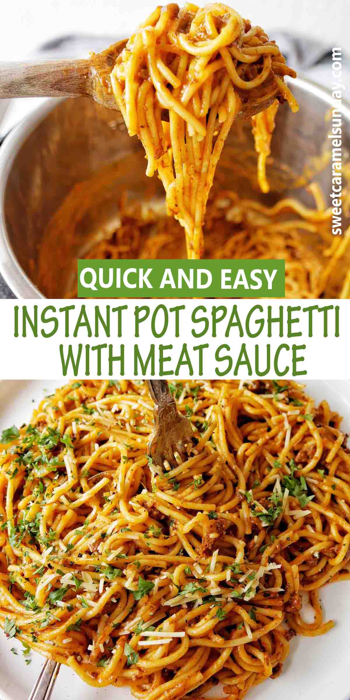 Instant Pot Spaghetti with Meat Sauce and text label