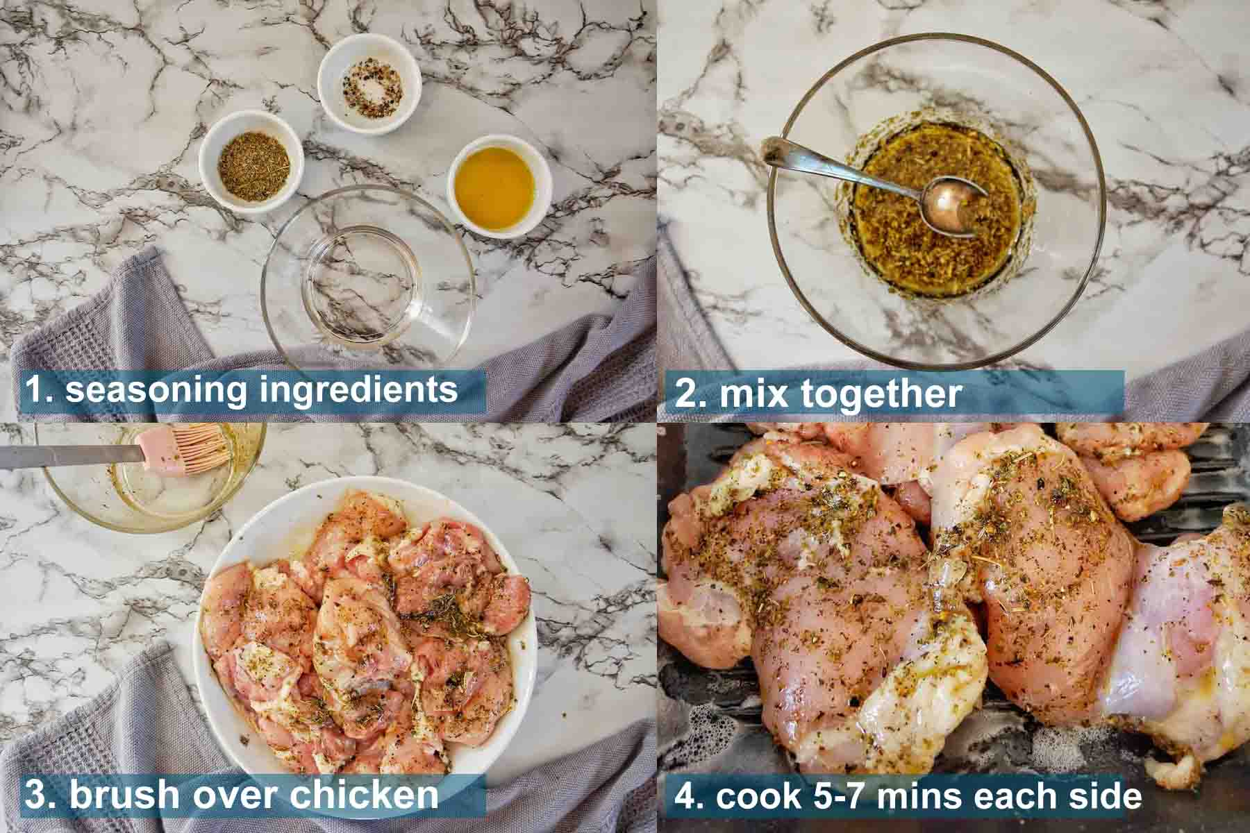 Italian Herb Chicken Thighs method 1 to 4