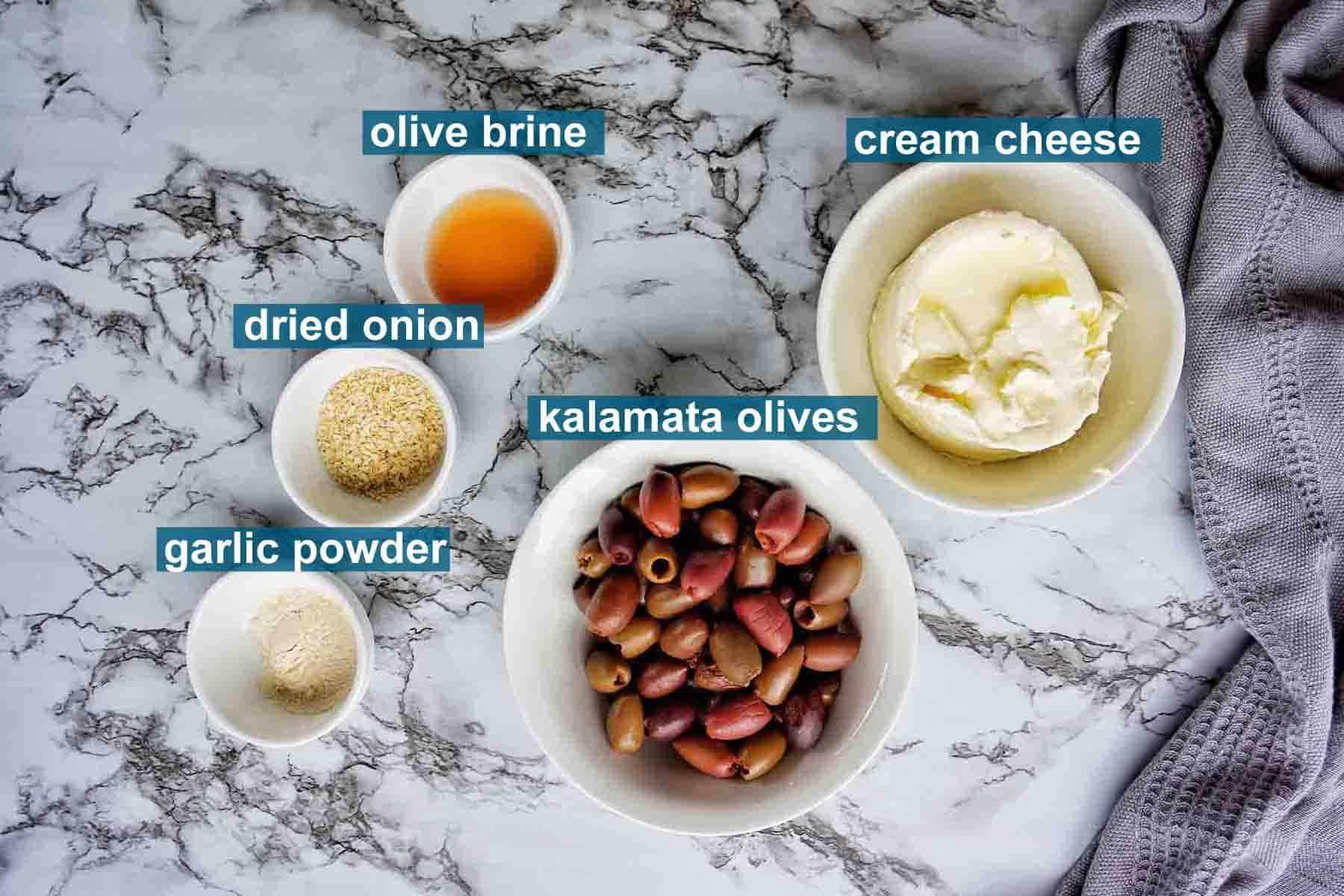 Ingredients for Kalamata Olive DIp
