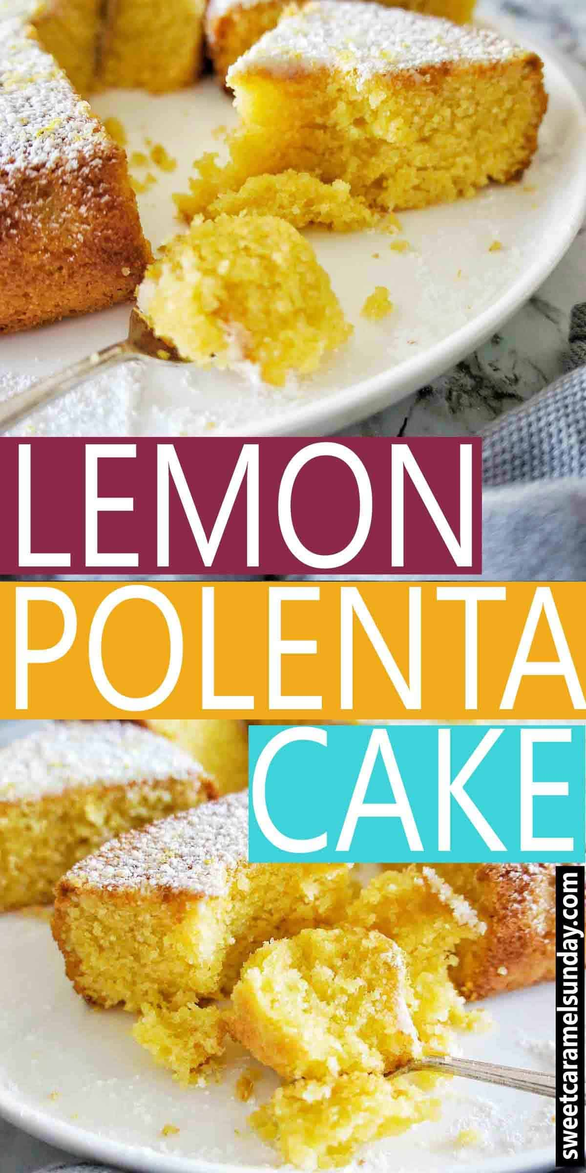 Lemon Polenta Cake with text overlay