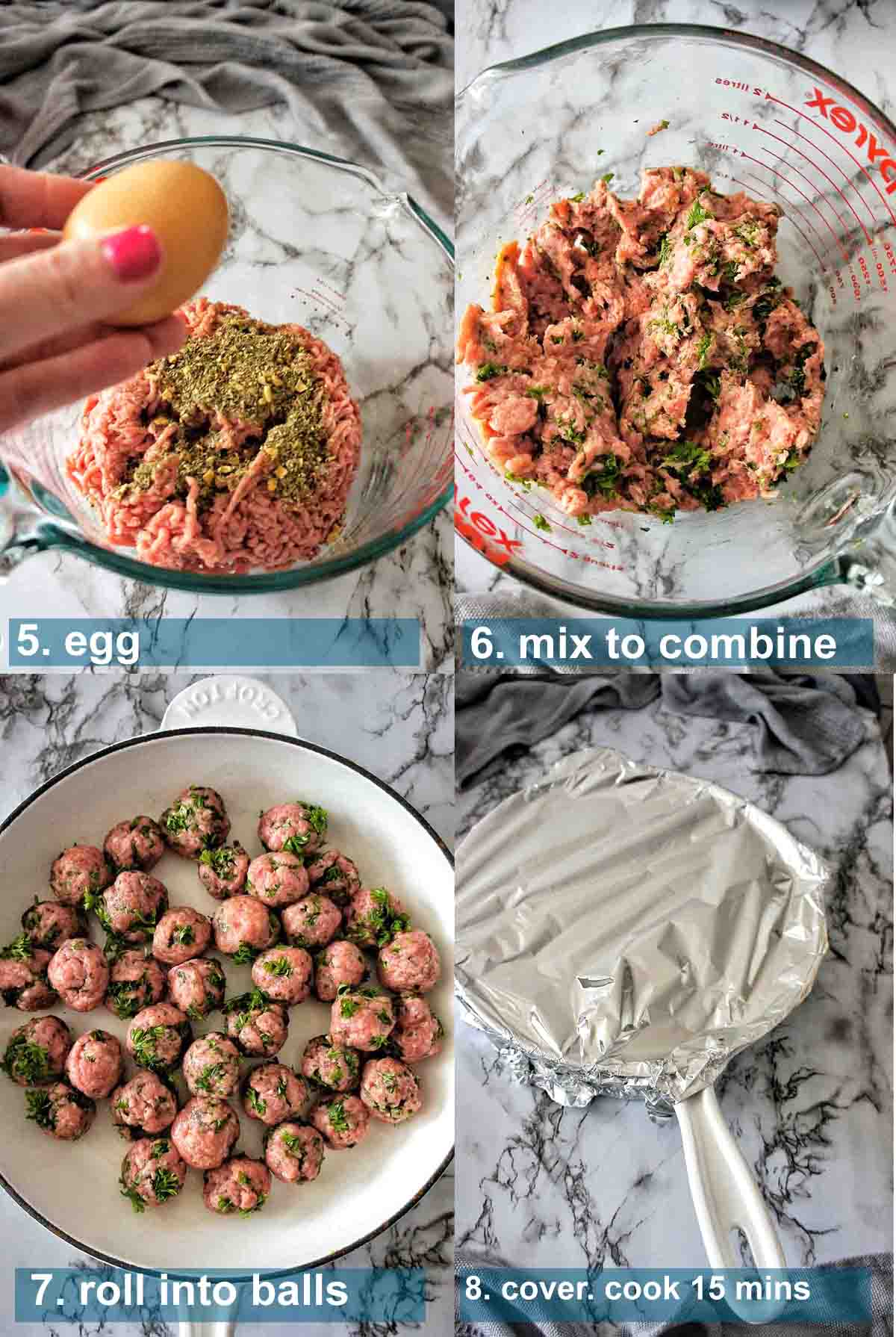 Meatballs in Sauce Method 5 to 8 with text over lay