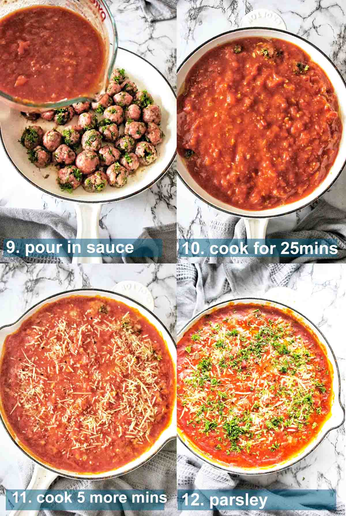 Meatballs in Sauce with text over lay