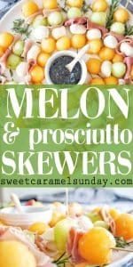 Melon and Prosciutto skewers with text overlay