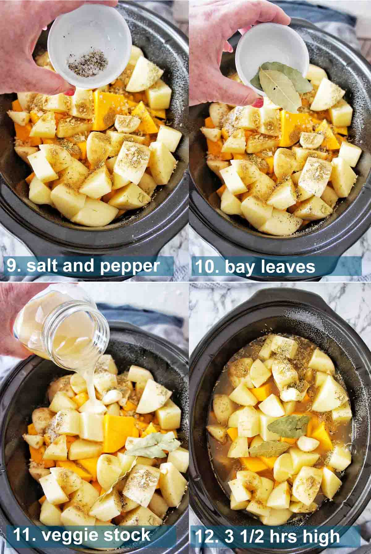 Process shots for Slow Cooker Pumpkin Soup with text over lay