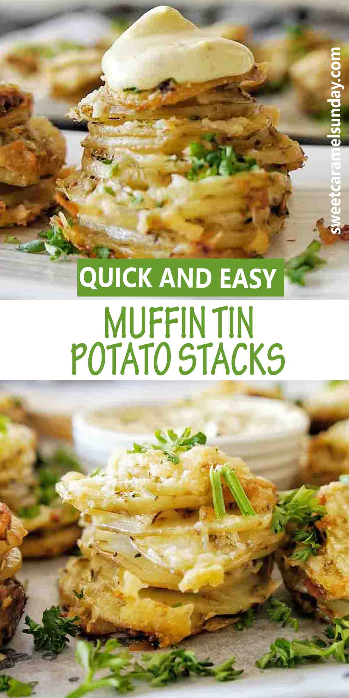 Muffin Tin Potato Stacks with text over lay