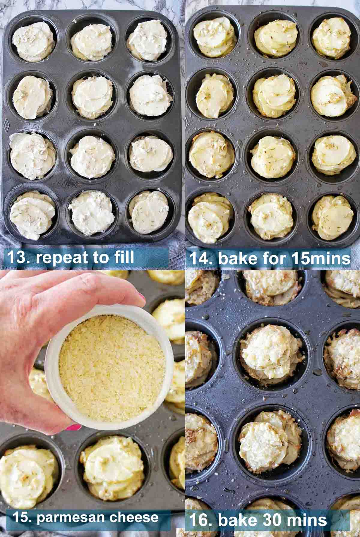 Herbed potato stacks recipe with text over lay