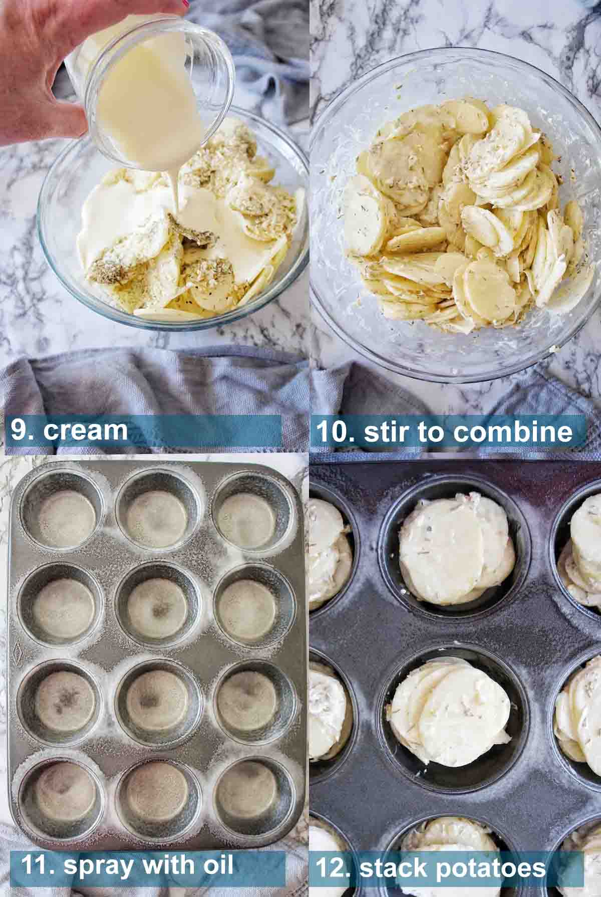 Process shots for au gratin stacks in a muffin tin with text over lay