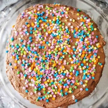 No Bake Biscuit Cake with multi coloured sprinkles on top