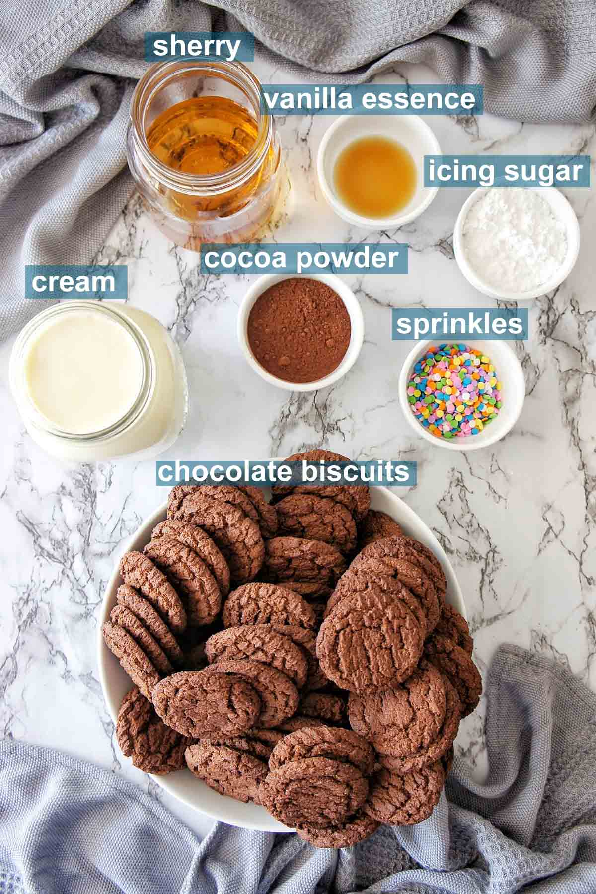 No Bake Chocolate Cake Ingredients with text overlay