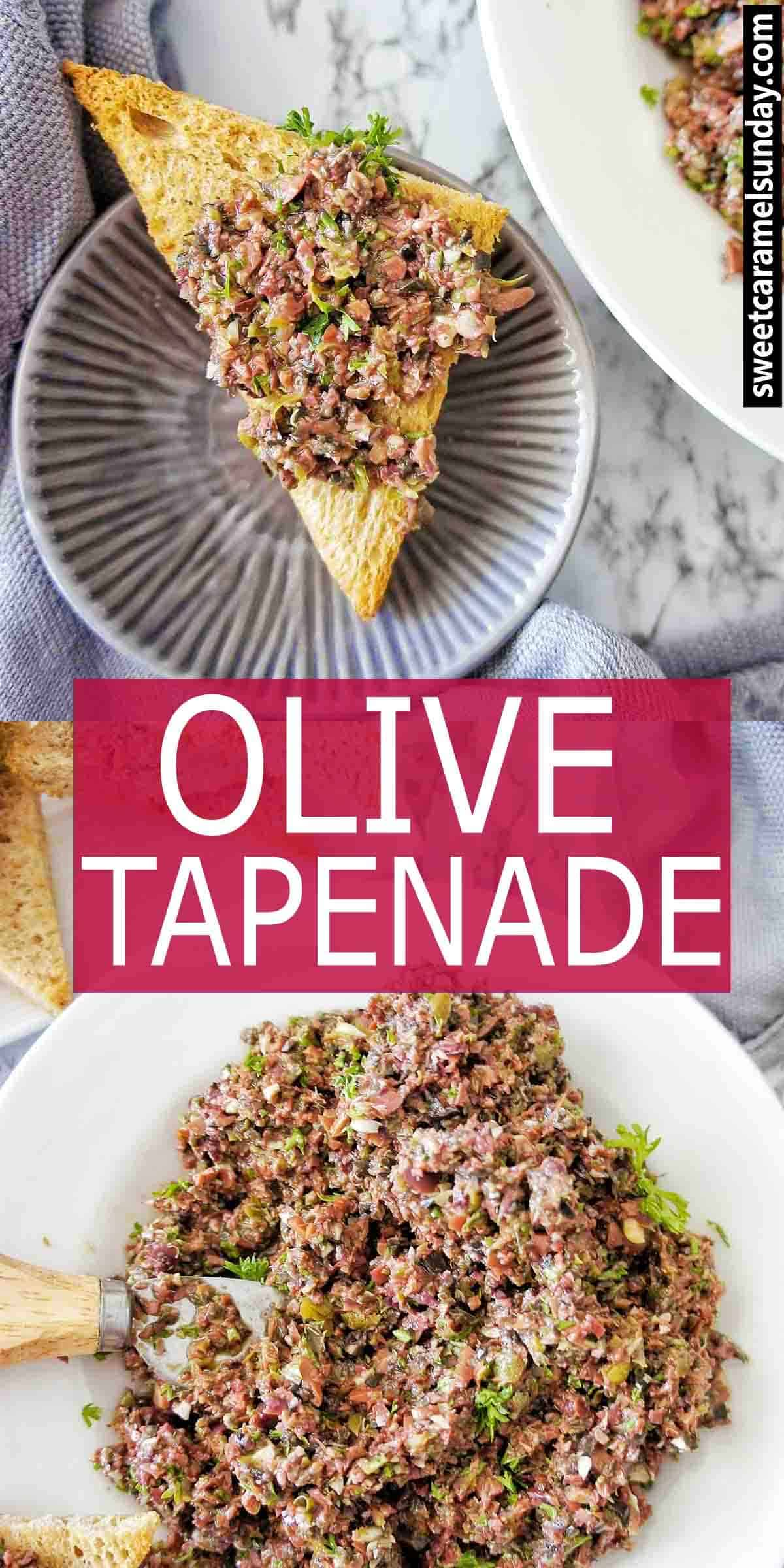 Olive Tapenade with text overlay