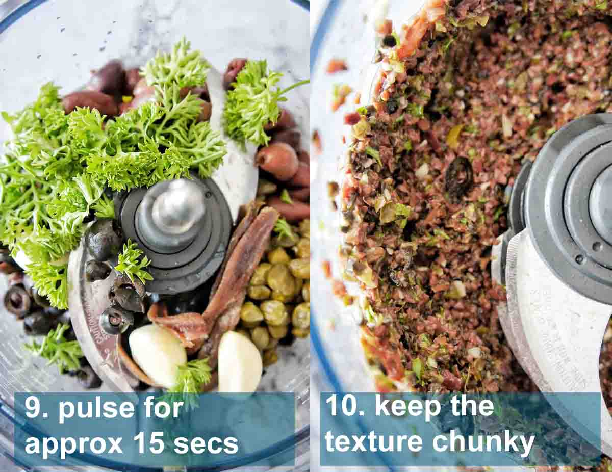 Olive tapenade in food processor before and after blitzing