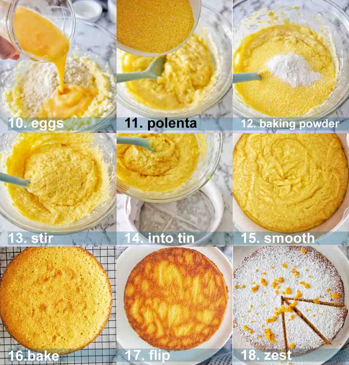 Orange Polenta Cake recipe step by step with text overlay