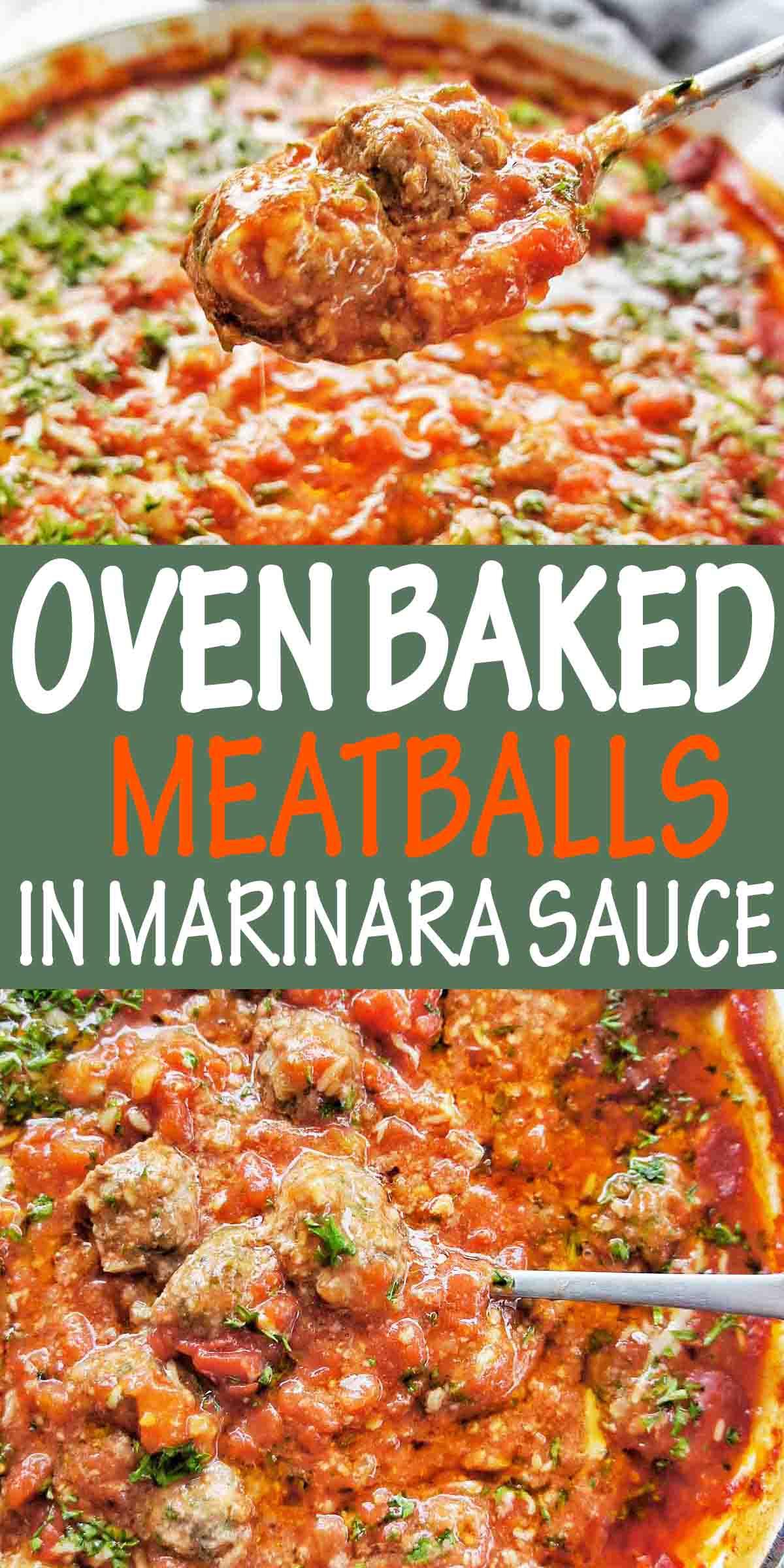Oven Baked Meatballs in Marinara Sauce